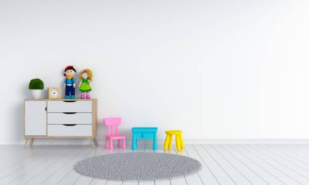 kind-innenraum für mockup, 3d rendering - kinderzimmer wand stock-fotos und bilder