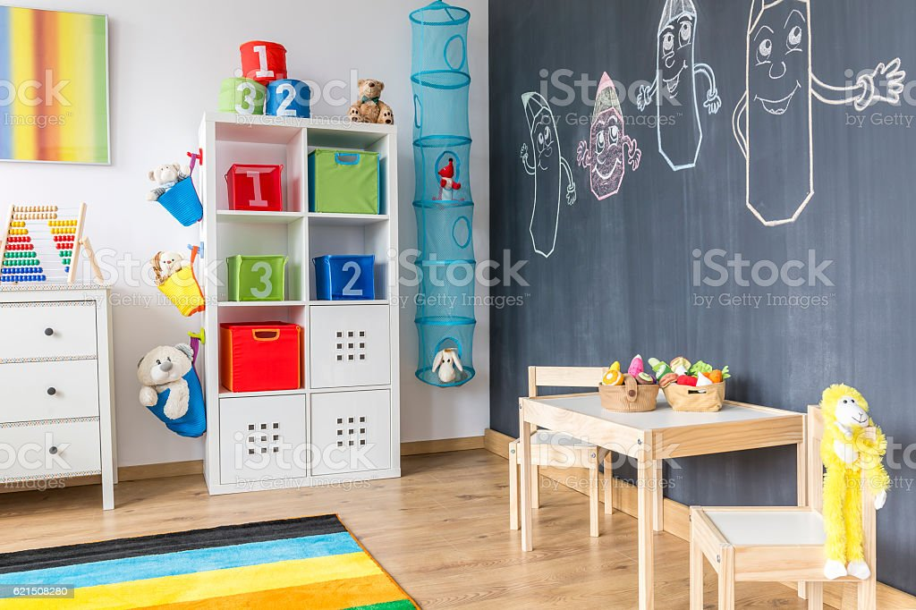 Child room with blackboard wall foto stock royalty-free