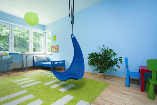 Child Room With Hanging Chair Stock Photo - Download Image Now