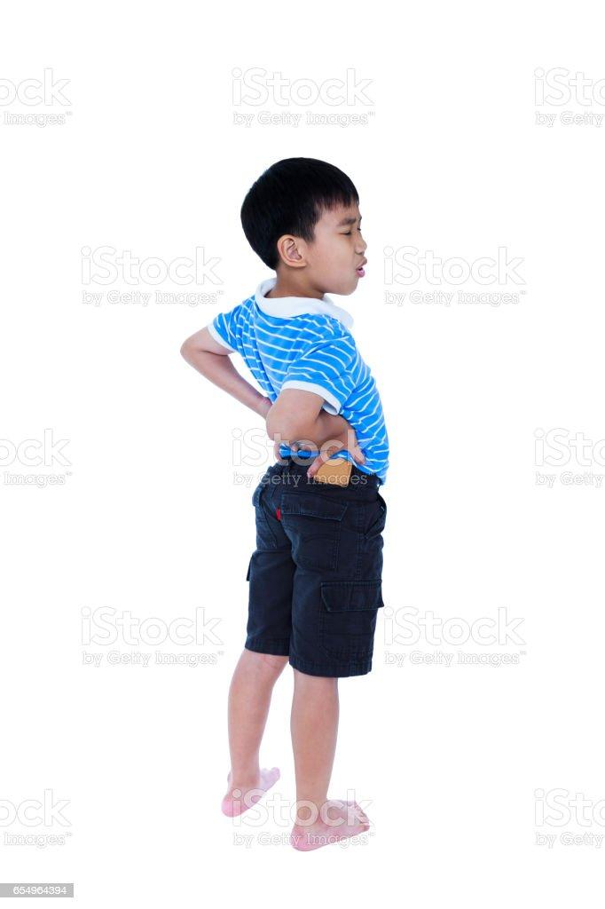 Niño Frotando Los Músculos De La Espalda Baja Aislado En Blanco ...