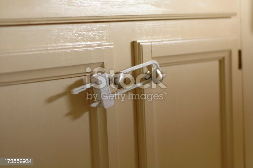 A child safety device securing cabinet doors from being opened.
