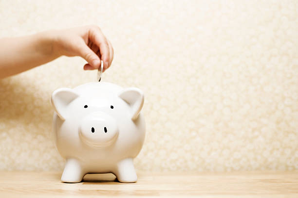 Child saving Child's hand loading a piggy bank. Low depth of field, focus on face of the pig. allowance stock pictures, royalty-free photos & images