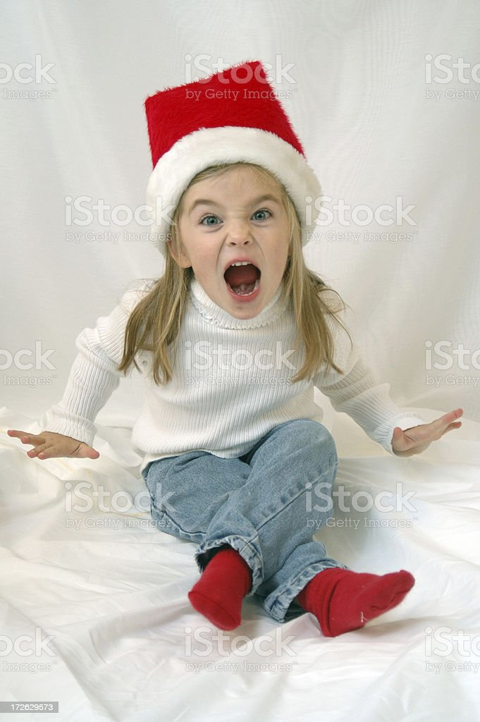Child Screaming that Santa is Coming stock photo