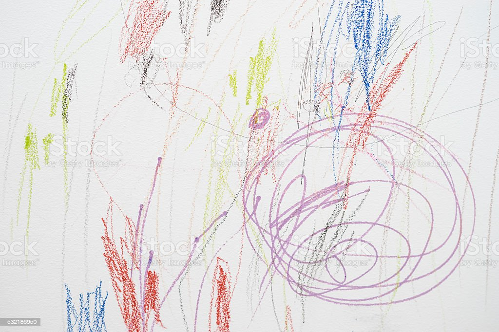 Child scribble on the wall stock photo