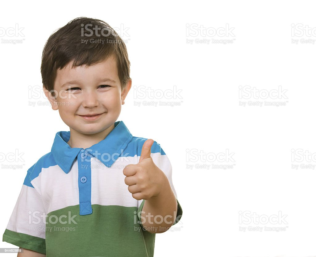 child shows the sign of OK royalty-free stock photo