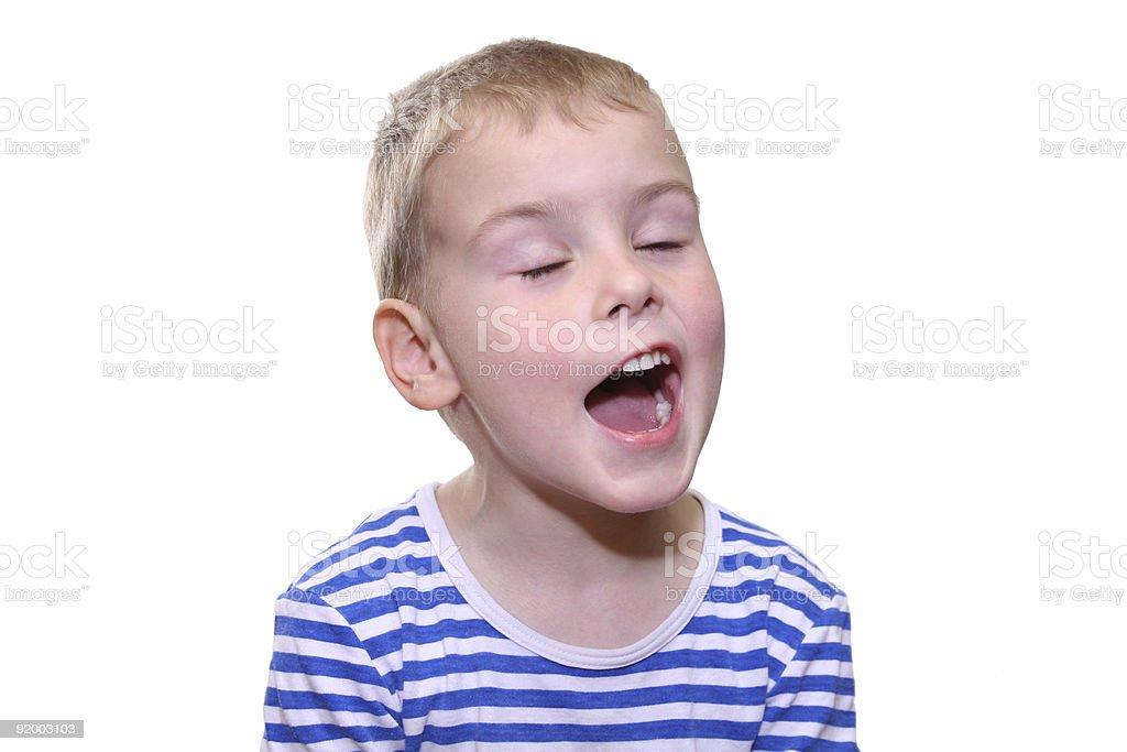 child singing stock photo