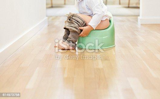 Child sitting on the potty