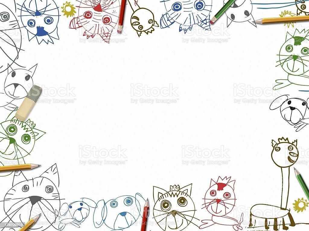 Dziecko notatniku tło z kolorowych ołówków granica Ilustracja – zdjęcie