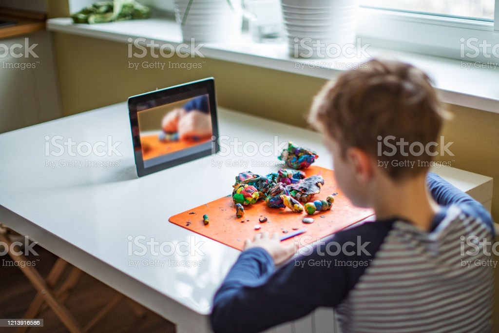 Child spending time at home during quarantine Child spending time at home during isolation quarantine 6-7 Years Stock Photo