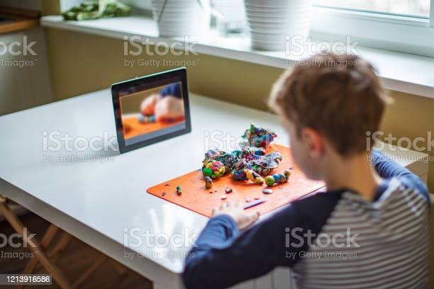 Child Spending Time At Home During Quarantine Stock Photo - Download Image Now