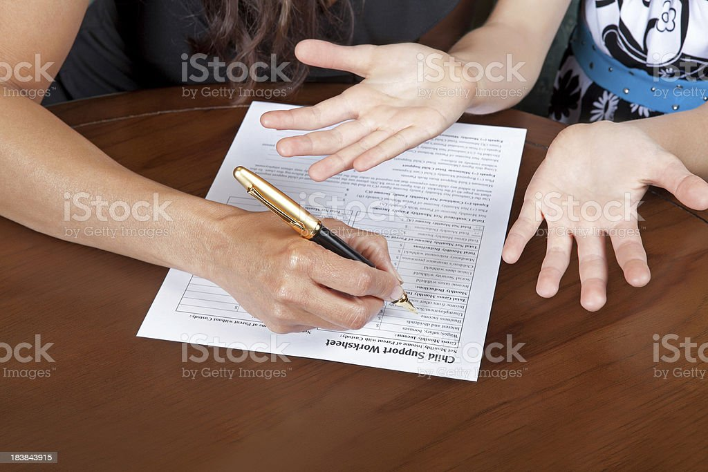 Child support forms stock photo