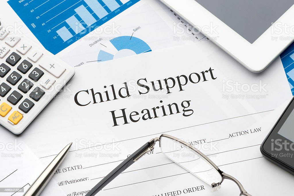 Child support hearing form on a desk. stock photo