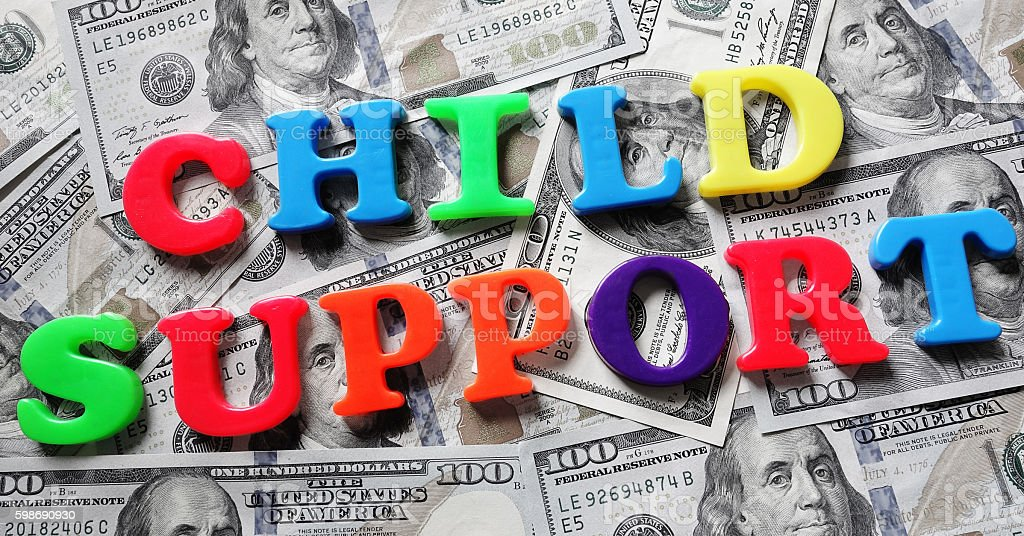 Child support letters and cash stock photo