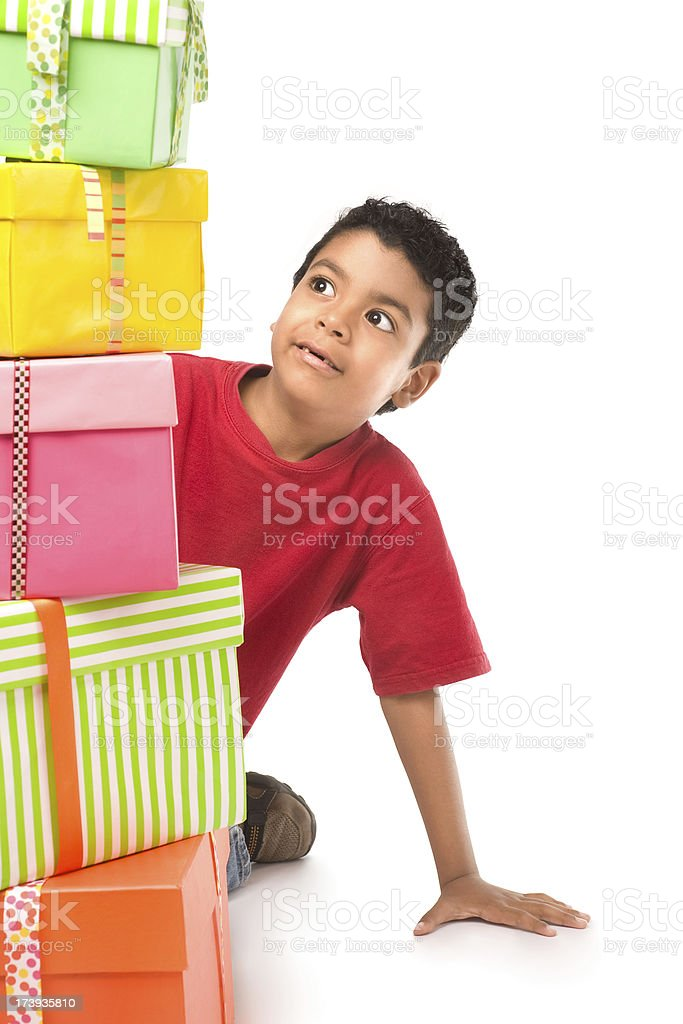 Child surprise with his gifts royalty-free stock photo