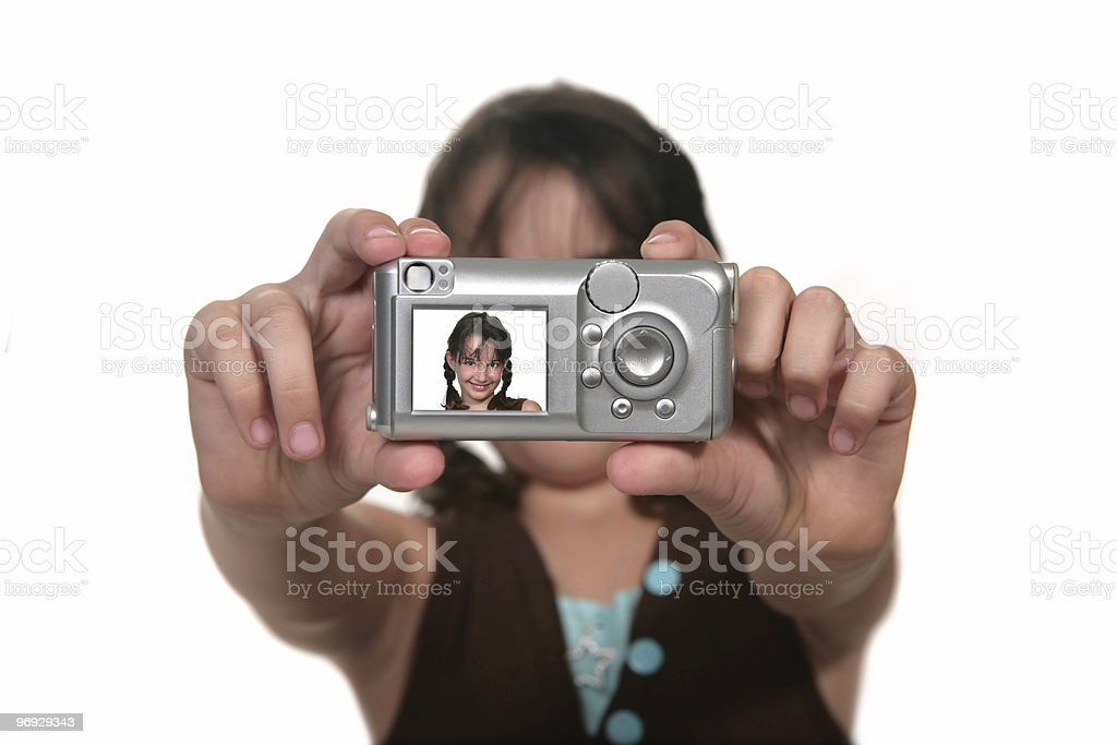Child Taking Her Own Digital Photo royalty-free stock photo