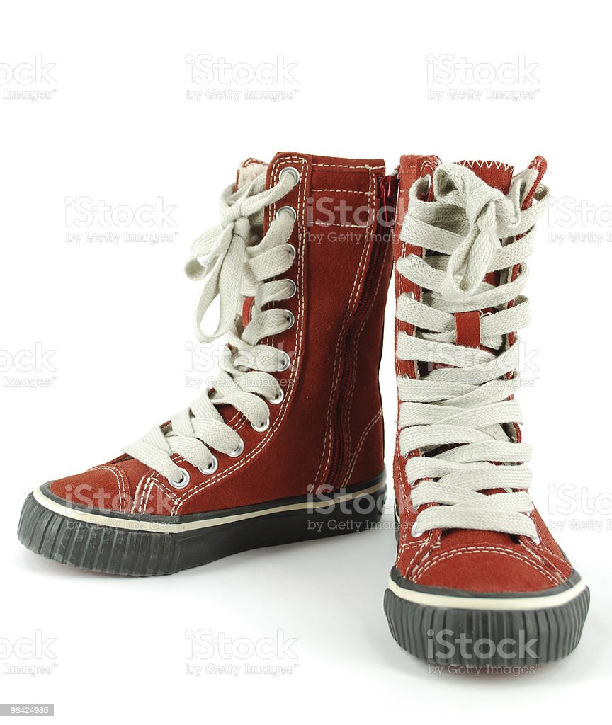 child tall red sneaker shoes royalty-free stock photo