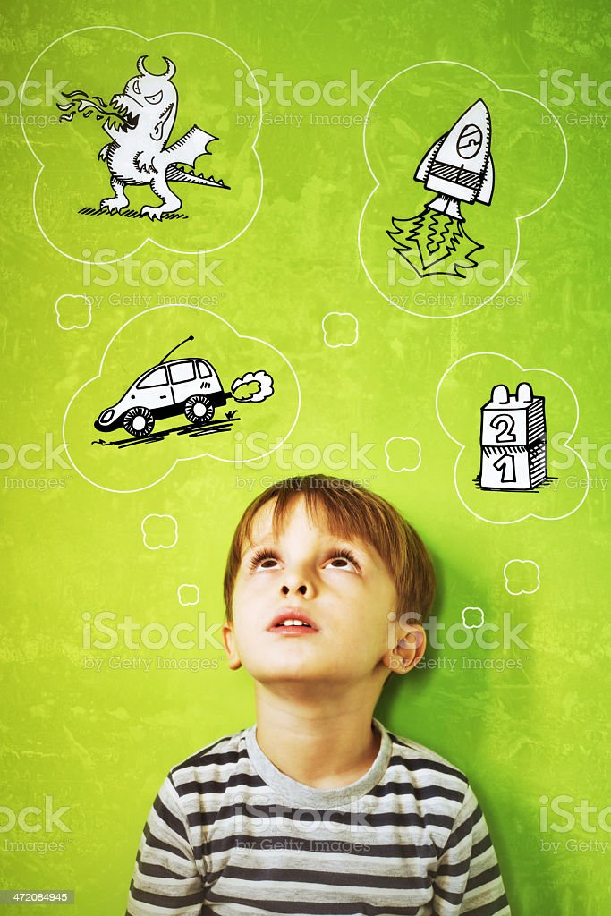 Child Thinking Toys - Green Background stock photo
