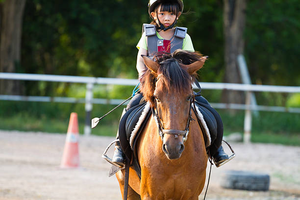 child trains horse riding , stock photo