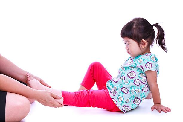 Child trauma medical treatment concept. Isolated on white. stock photo
