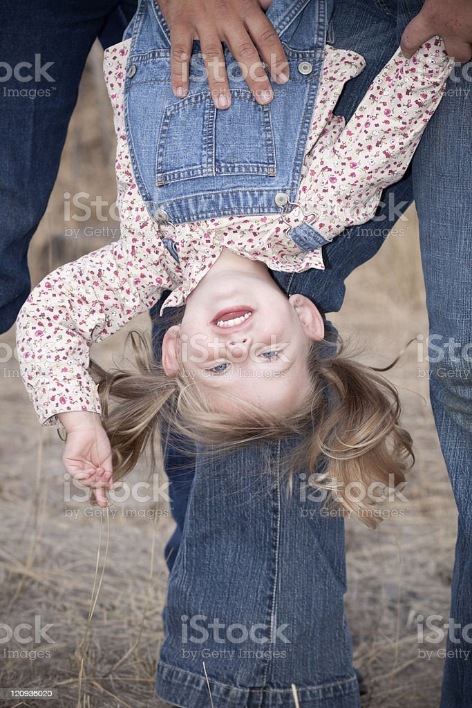 Child Upside Down stock photo