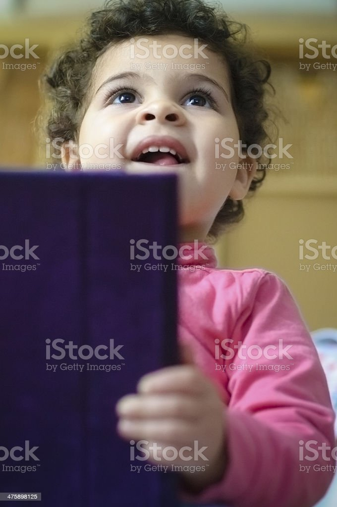 PEOPLE: Child Using a Digital Tablet royalty-free stock photo