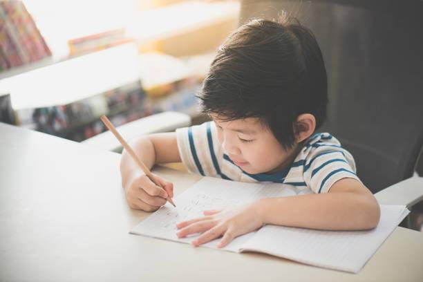 鉛筆を使用してノートブックに書き込む子 - 作文の授業 ストックフォトと画像