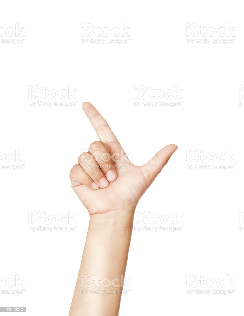 Child Using American Sign Language Letter L stock photo