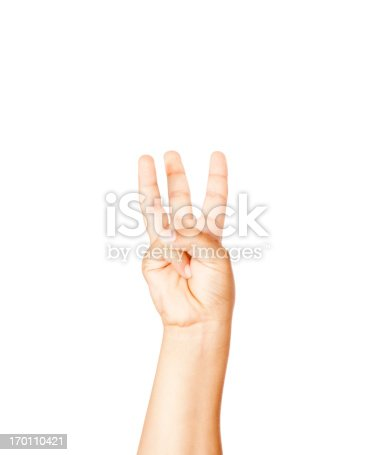Hispanic child making the letter W in American Sign Language.  OR 3