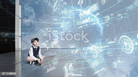 istock Child using laptop and futuristic GUI. 971246840
