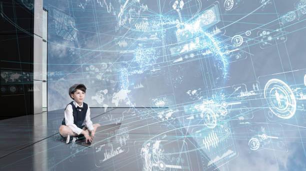 kind mit laptop und futuristischen gui. - schule der zukunft stock-fotos und bilder