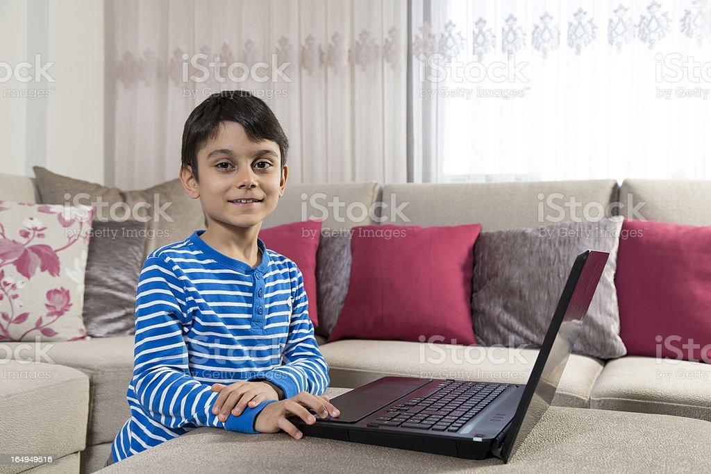 Child  using laptop royalty-free stock photo