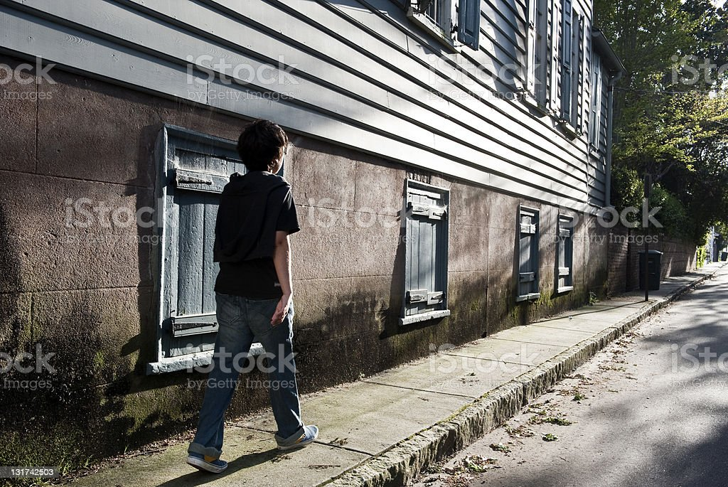 child walking down the street royalty-free stock photo
