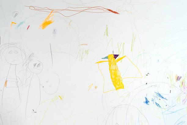 kind-wandzeichnungen - scribble stock-fotos und bilder