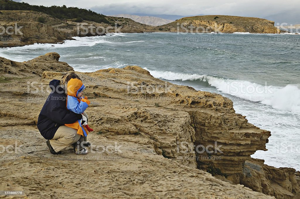 Child watches Waves royalty-free stock photo