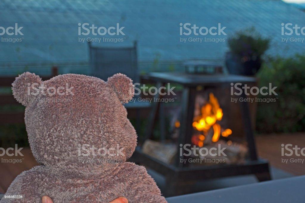 Child watching fire stock photo