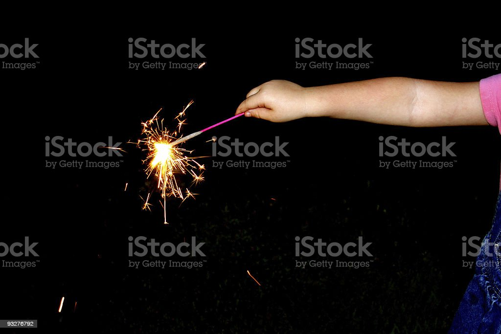 child waves fireworks royalty-free stock photo