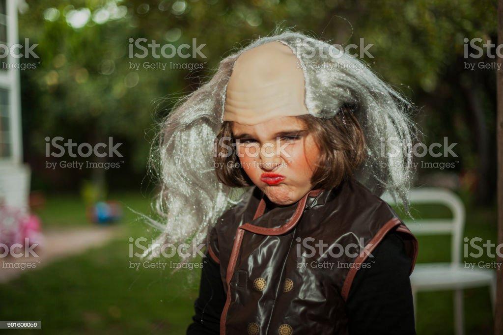 Child wearing terrific halloween pirate costume stock photo