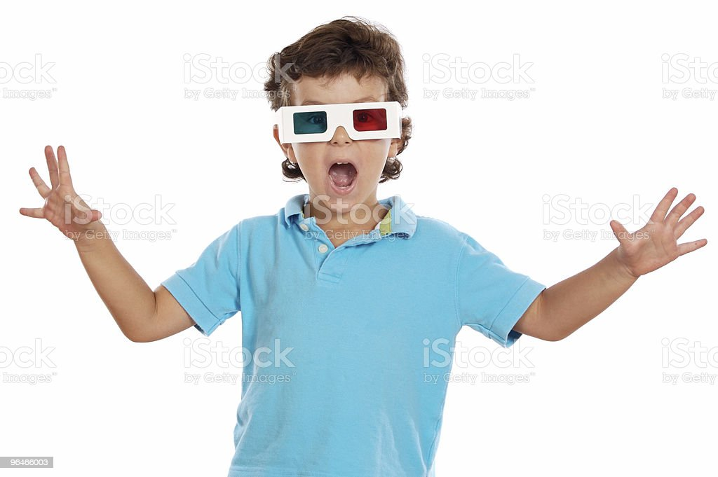 child whit 3d glasses royalty-free stock photo
