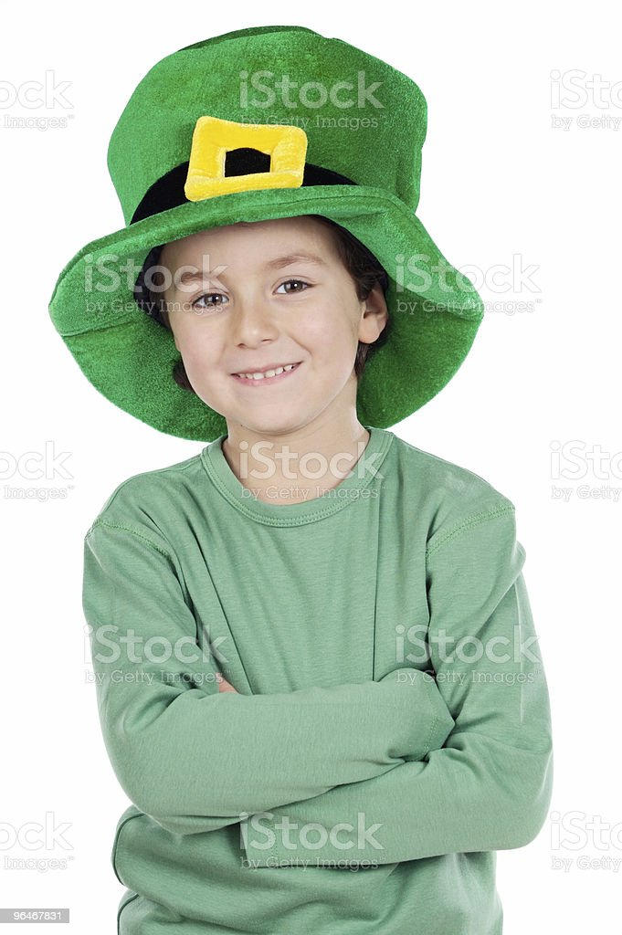 Child whit hat of Saint Patrick's royalty-free stock photo