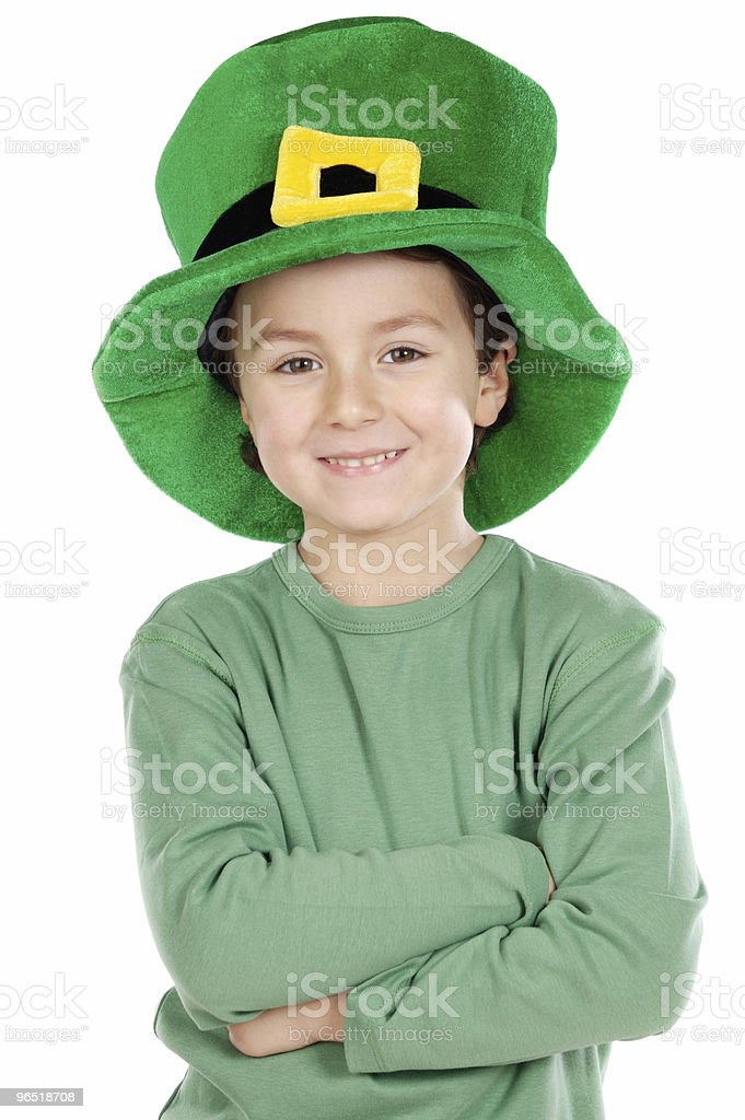 Child whit hat of Saint Patrick's royalty-free stock photo