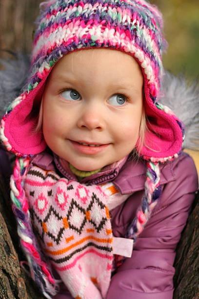 Child winter portrait stock photo
