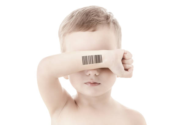 Child with a code of genetic experiments. Clone of DNA and human genome. Artificial intelligence concept. stock photo
