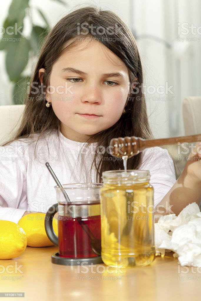 Child with a Cold Remedy royalty-free stock photo
