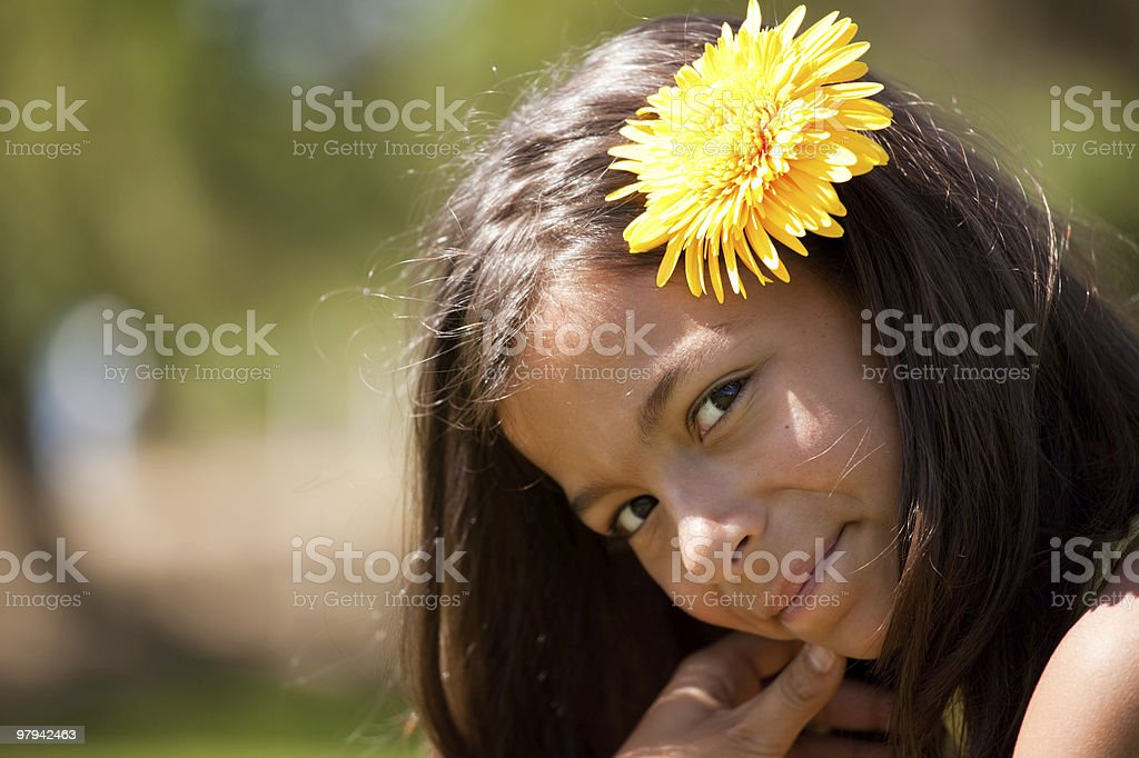 child with a flower in the head royalty-free stock photo