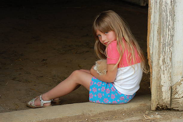 Child with a Kitten stock photo
