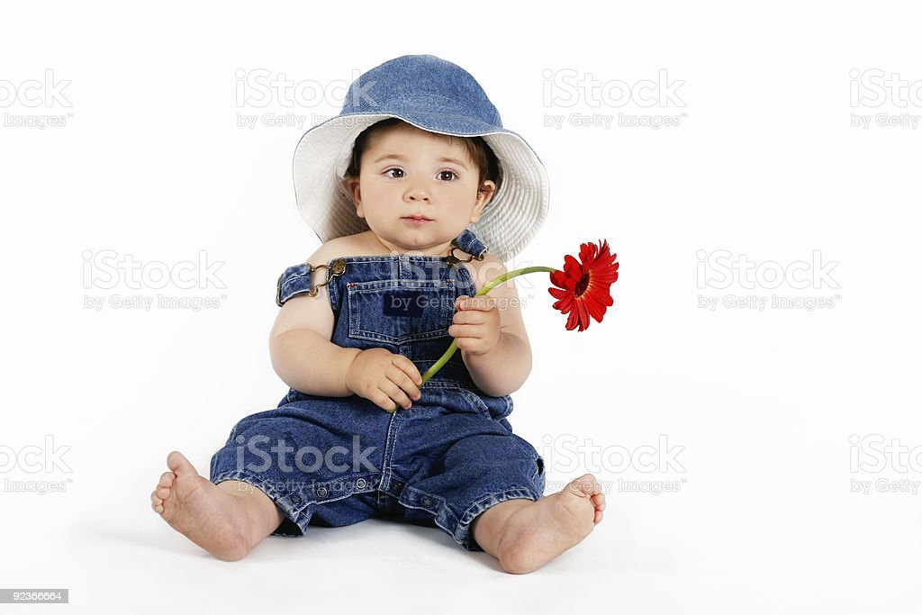 Child with a Red Daisy royalty-free stock photo