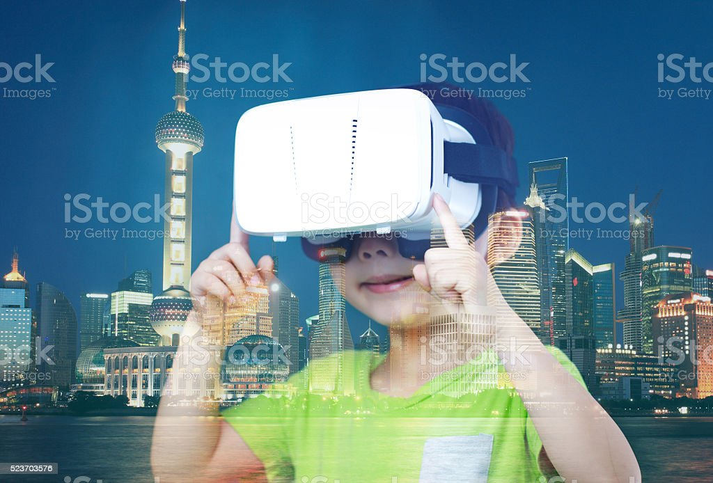 Child with a virtual reality game stock photo