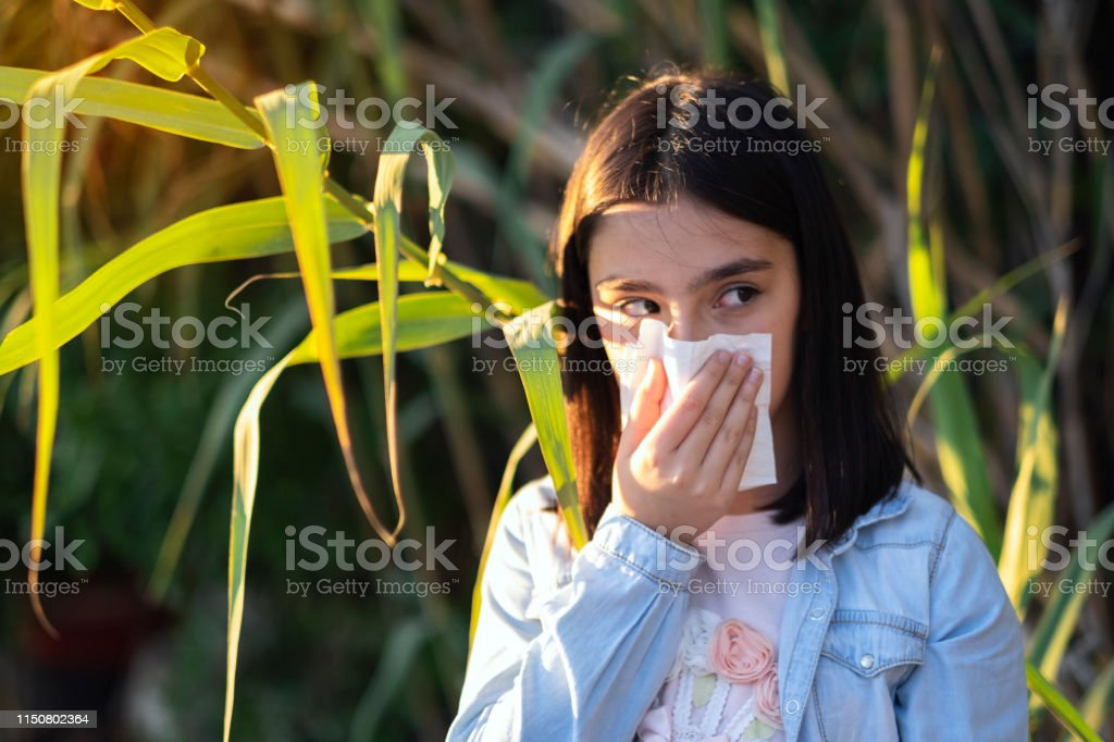 Child summer fever. 9-10 years. Only one young girl. blowing his nose...