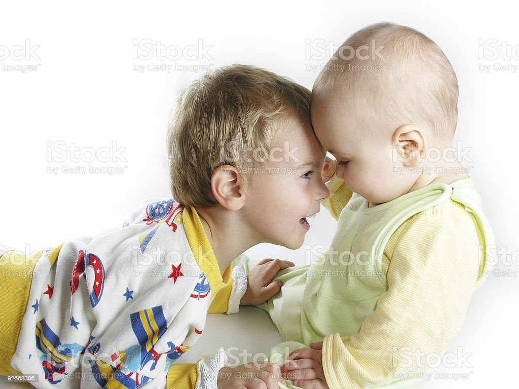 child with baby on white royalty-free stock photo