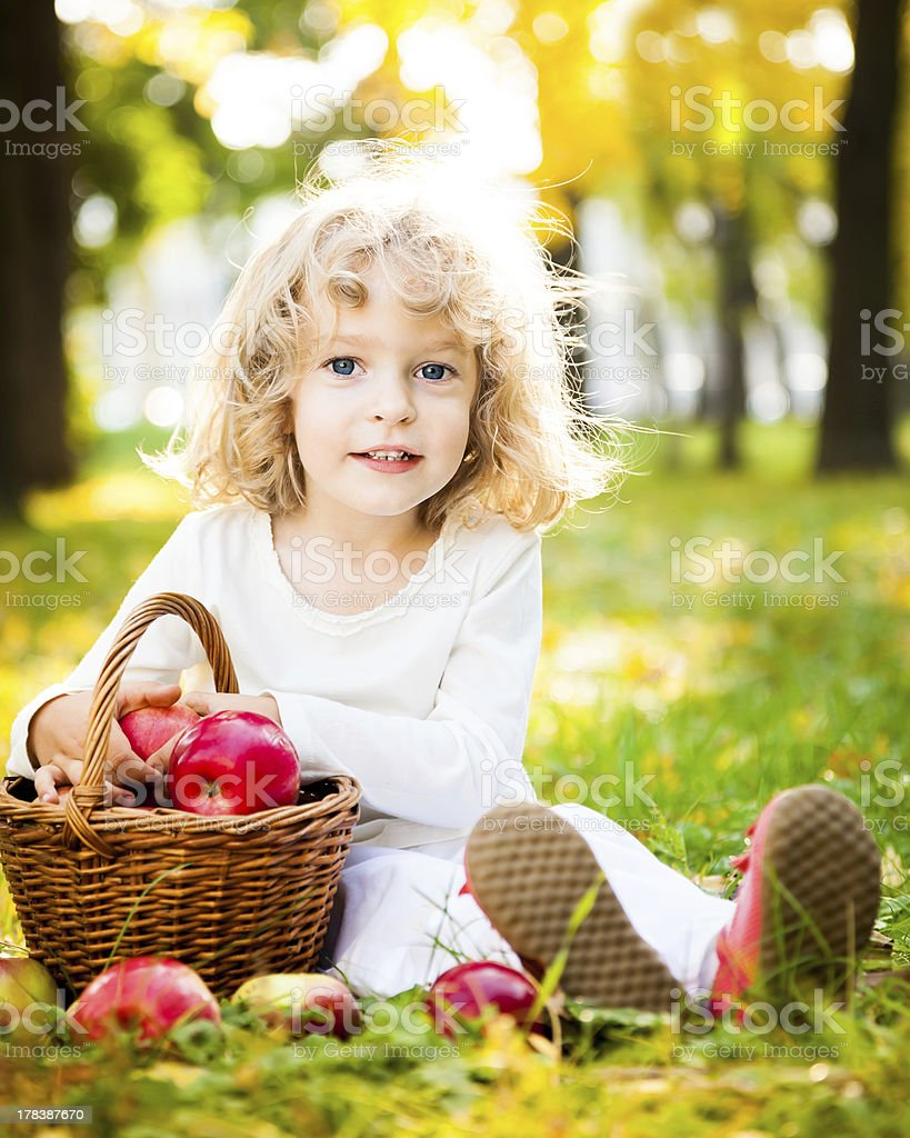 Child with basket of apples in autumn park royalty-free stock photo
